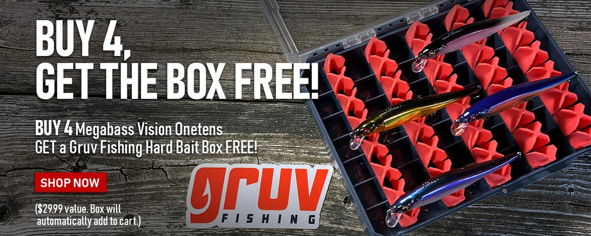 Get a FREE Gruv Fishing hard Bait Box when you buy 4 Megabass Vision Onetens!