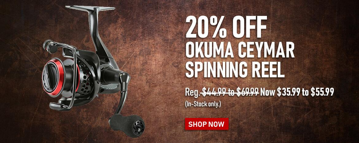 Save 20% on the Okuma Ceymar Spinning Reel at FishUSA, America's Tackle Shop.