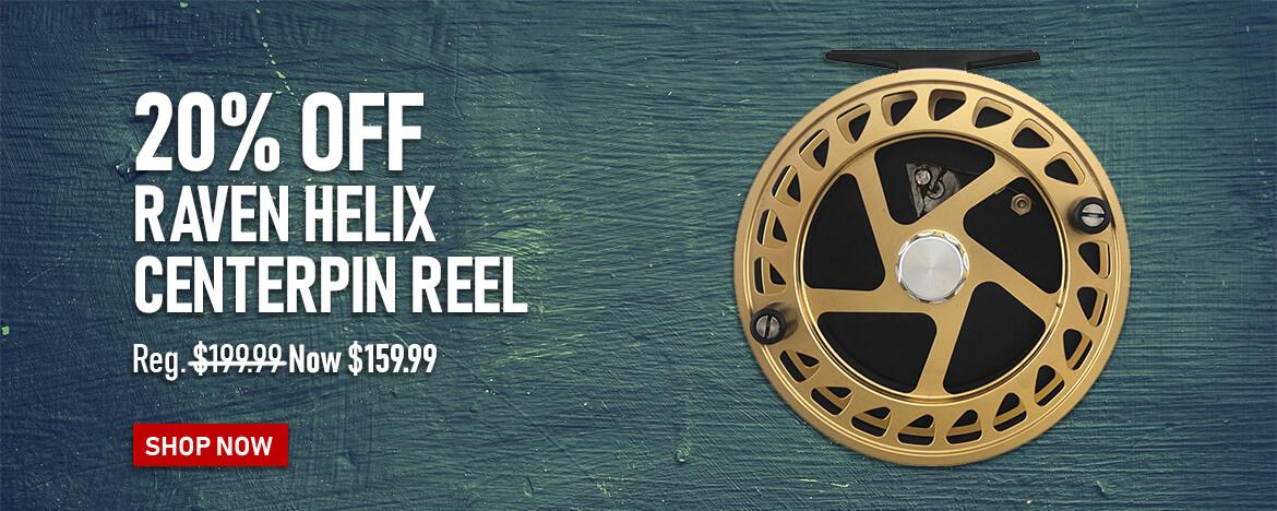 Save 20% on the Raven Helix Centerpin Reel at FishUSA, America's Tackle Shop.