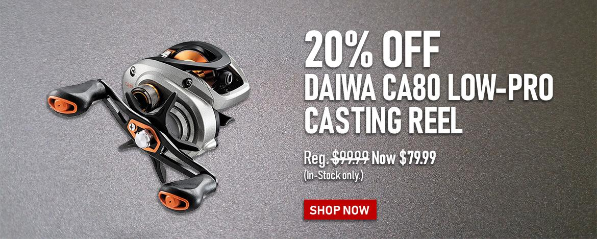 Save 20% on the Daiwa CA80 Low-Profile Casting Reel at FishUSA, America's Tackle Shop.
