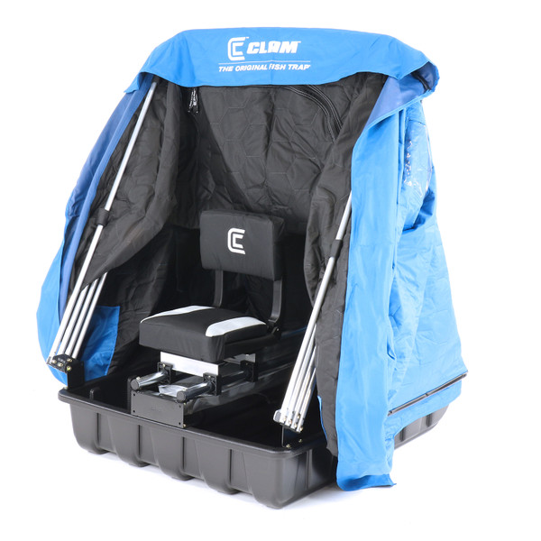 Clam Scout XL Thermal Ice Shelter Right View of Seat with Shelter Fabric Raised