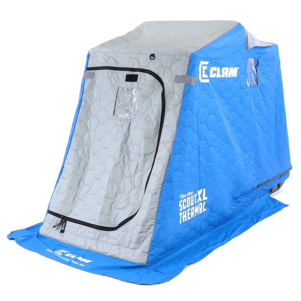 Clam Scout XL Thermal Ice Shelter Right View of Shelter with Door Closed