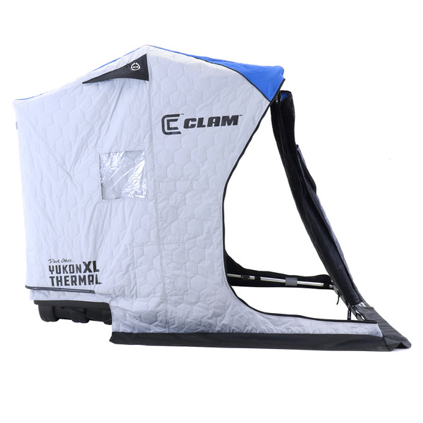 Clam Yukon XL Thermal Ice Shelter Side View with Cover Open
