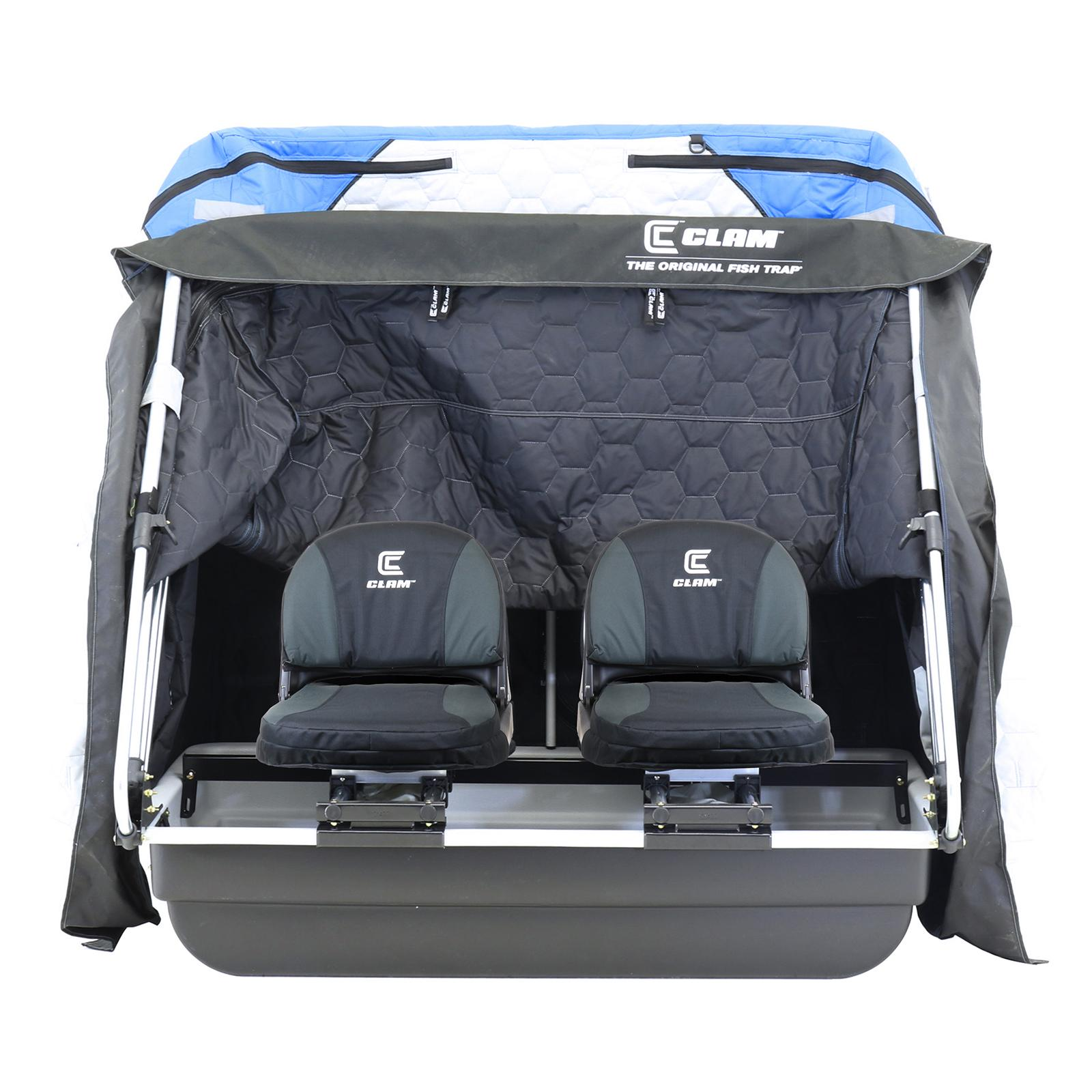 Clam Yukon XL Thermal Ice Shelter Front View with Seats and Cover Fully Opened
