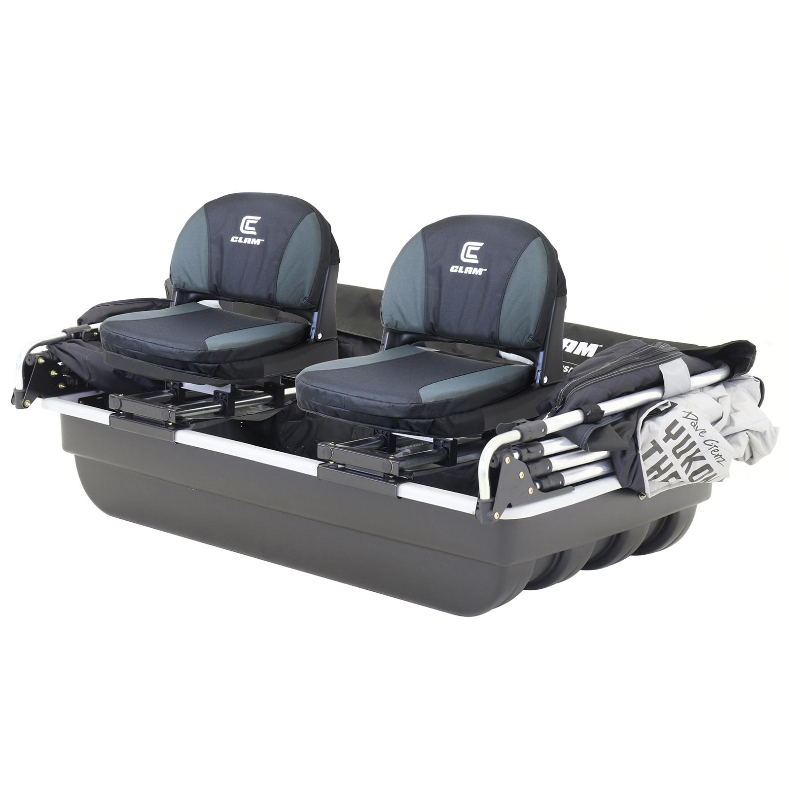 Clam Yukon XL Thermal Ice Shelter Left Angle Seats in Tub