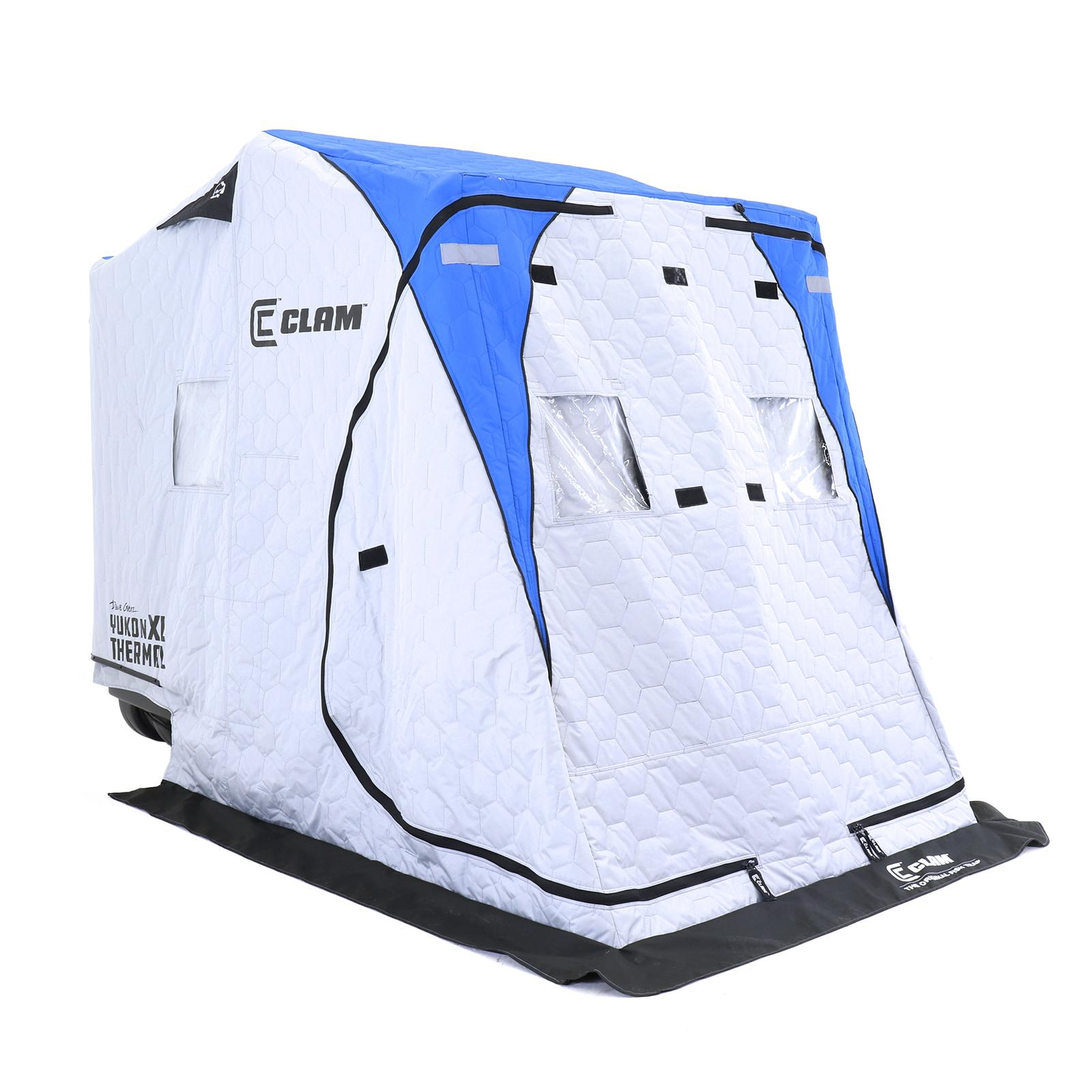 Clam Yukon XL Thermal Ice Shelter Left Angle Side with Cover Closed