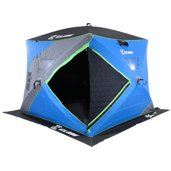 Clam X-400 Thermal Hub Ice Shelter Angle View 2 Sides Door Open