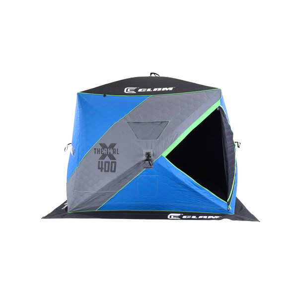 Clam X-400 Thermal Hub Ice Shelter Side View Door Open