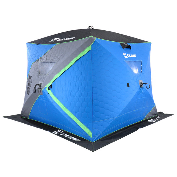 Clam X-400 Thermal Hub ice Shelter Angle View 2 Sides