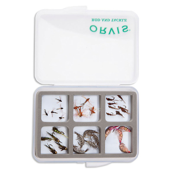 Orvis Super Slim Shirt Pocket 6-Compartment Fly Box In Use