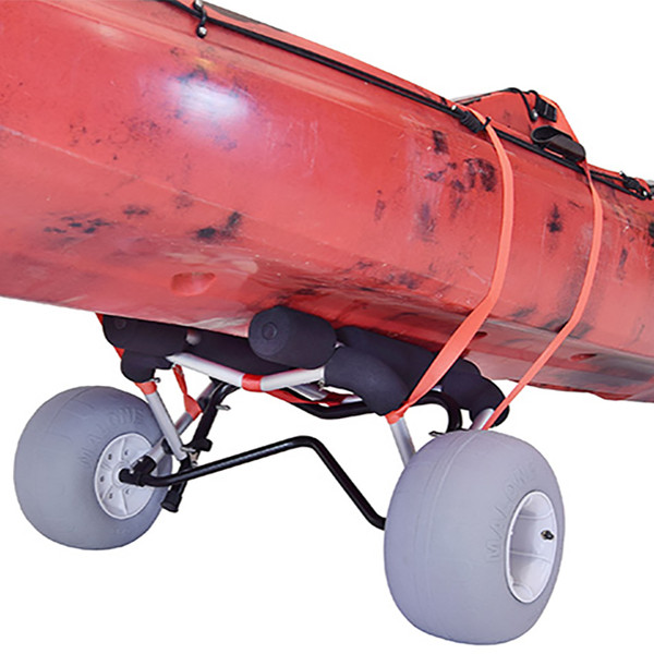 Malone WideTrak SB Large Kayak / Canoe Cart with Balloon Beach Tires In Use Close Up