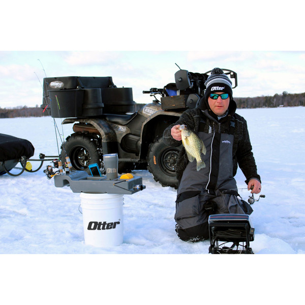 Otter Outdoors Sidekick Ice Shelter / Bucket Console In Use View