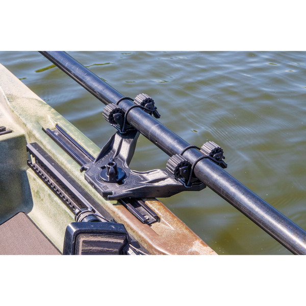 YakAttack DoubleHeader Track Mount with Dual RotoGrip Paddle Holders-In Track with Bungees Attached