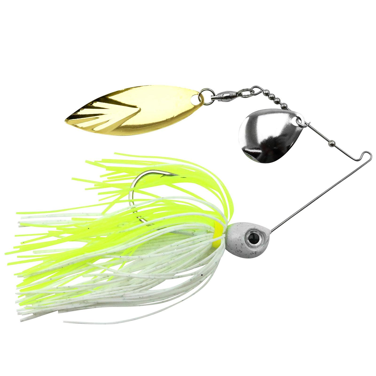 Accent River Special Colorado / Willow Spinnerbait Color Nickel/Gold Blade - Chartreuse/White Skirt Weight 1/4 oz thumbnail