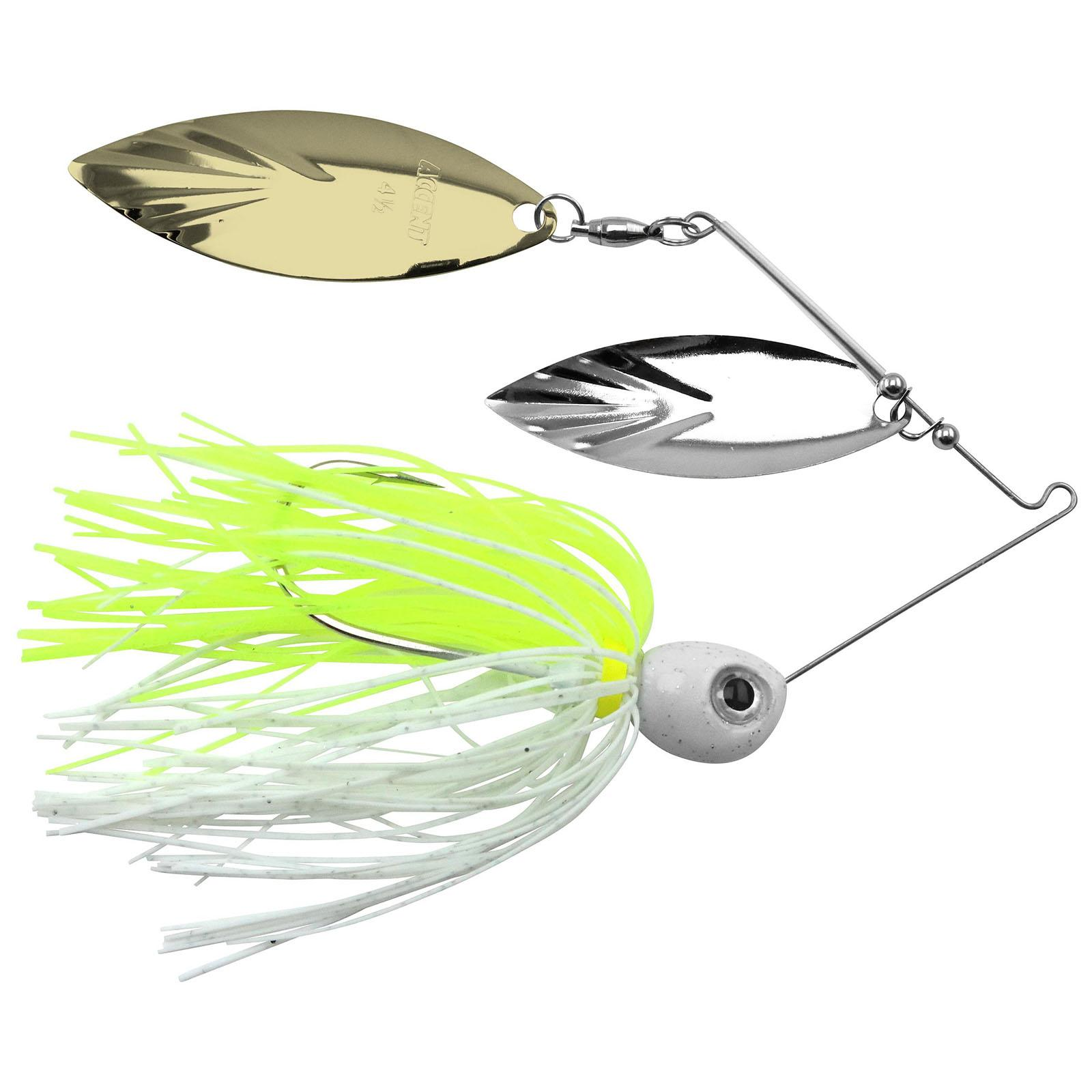 Accent River Special Double Willow Spinnerbait Color Nickel/Gold Blades - Chartreuse/White Skirt Weight 1/4 oz thumbnail
