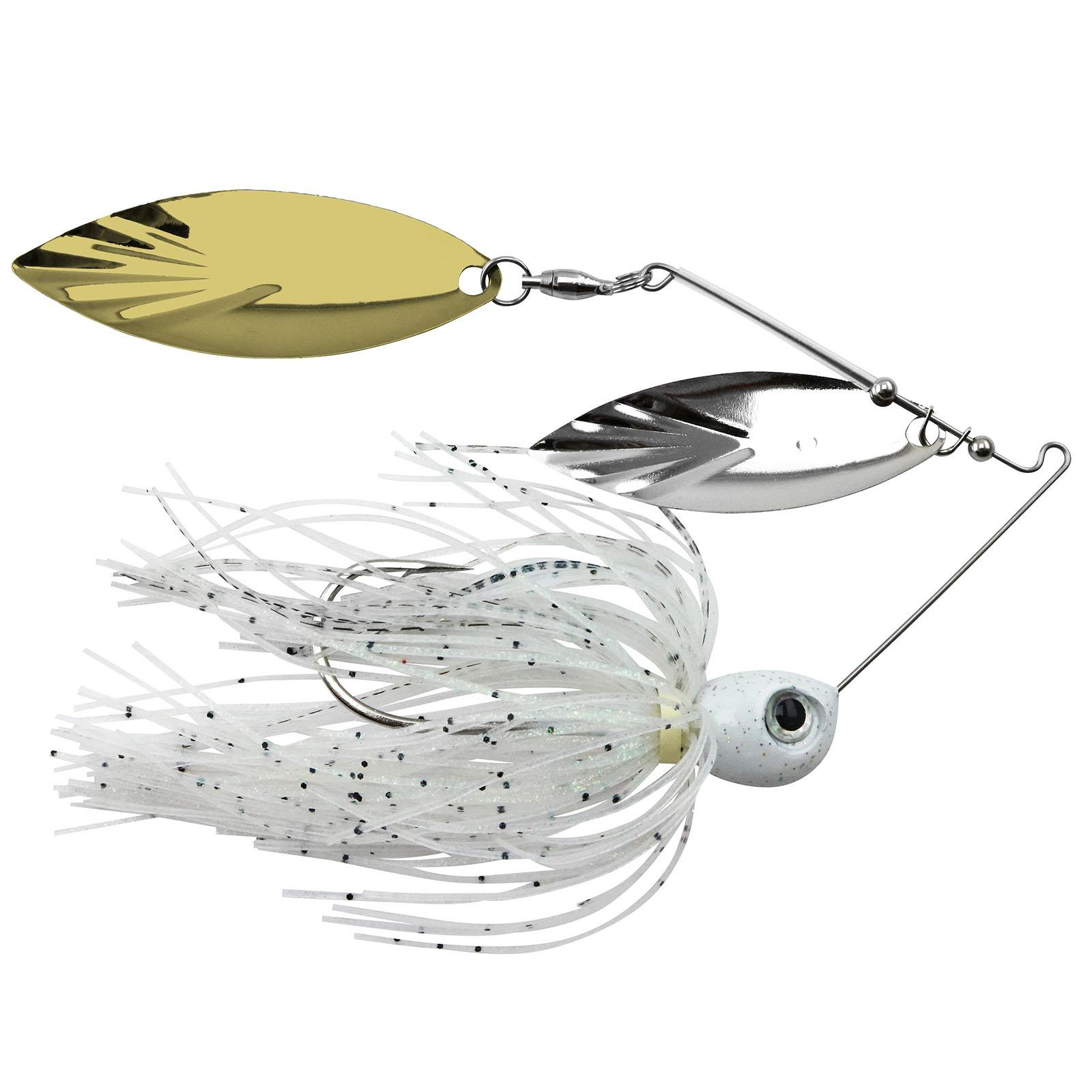 Accent River Special Double Willow Spinnerbait Color Nickel/Gold Blades - Crystal White Shad Skirt Weight 1/4 oz thumbnail