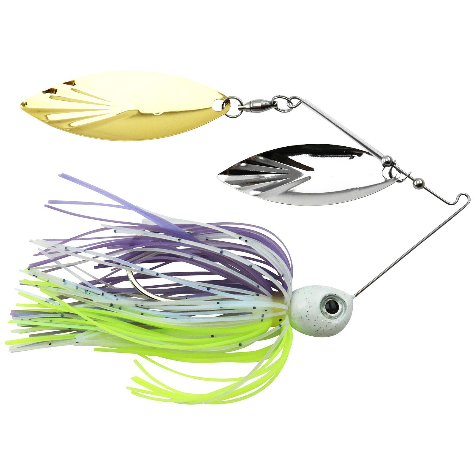 Accent River Special Double Willow Spinnerbait Color Nickel/Gold Blades - Purple Crush Skirt Weight 3/8 oz thumbnail