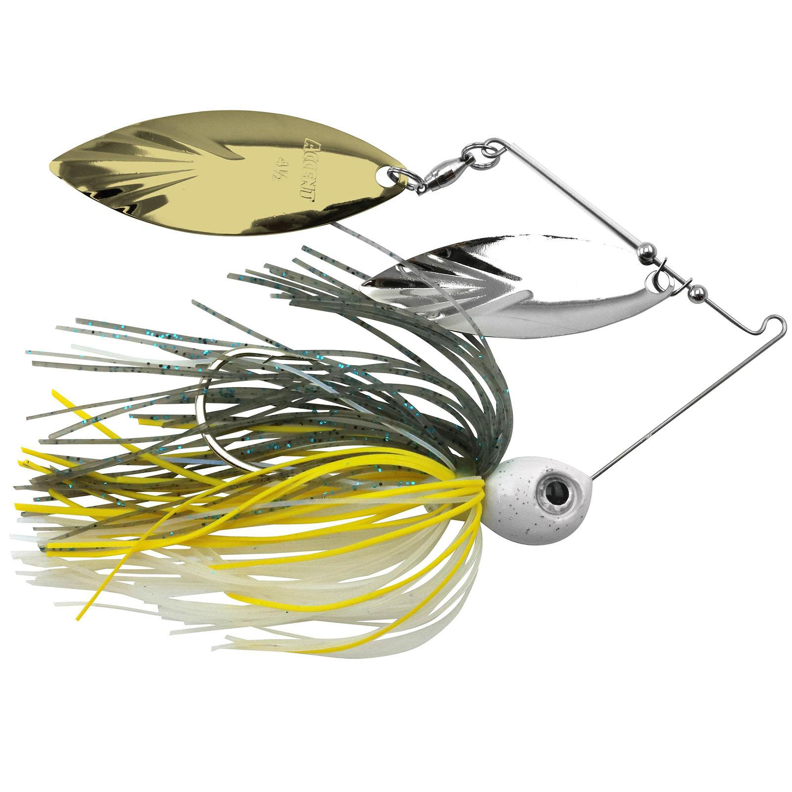 Accent River Special Double Willow Spinnerbait Color Nickel/Gold Blades - Sizzling Shad Skirt Weight 1/4 oz thumbnail