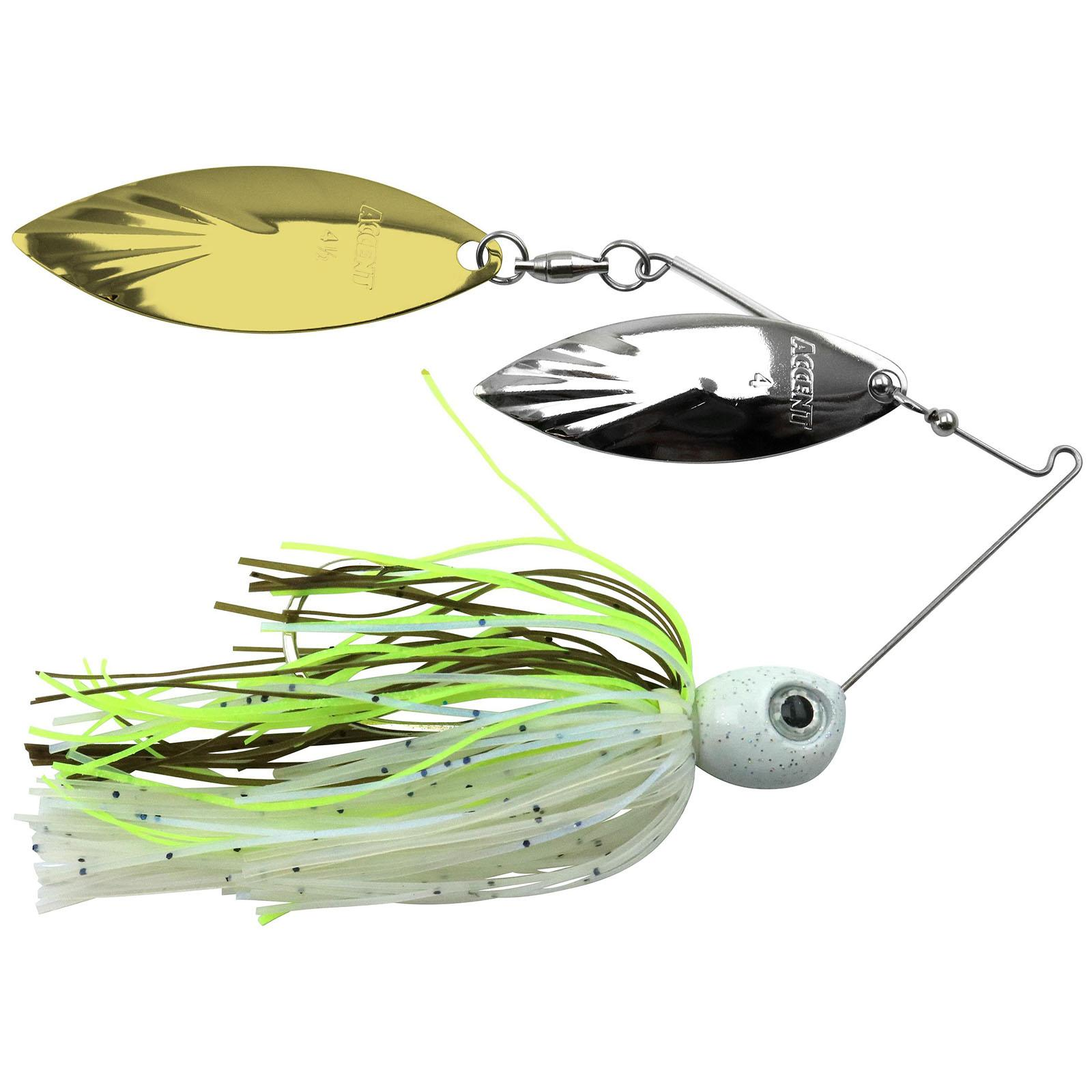 Accent River Special Double Willow Spinnerbait Color Nickel/Gold Blades - Threadfin Shad Skirt Weight 3/8 oz thumbnail