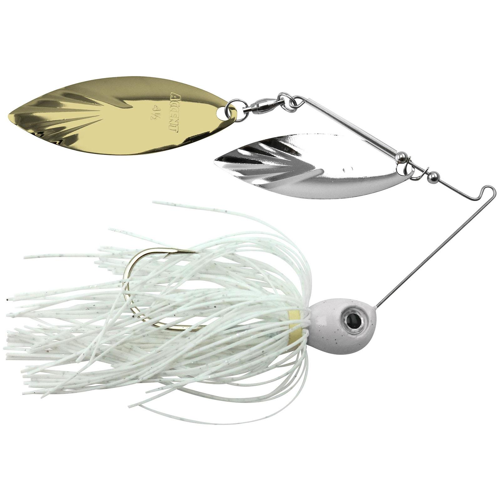 Accent River Special Double Willow Spinnerbait Color Nickel/Gold Blades - White Skirt Weight 1/4 oz thumbnail