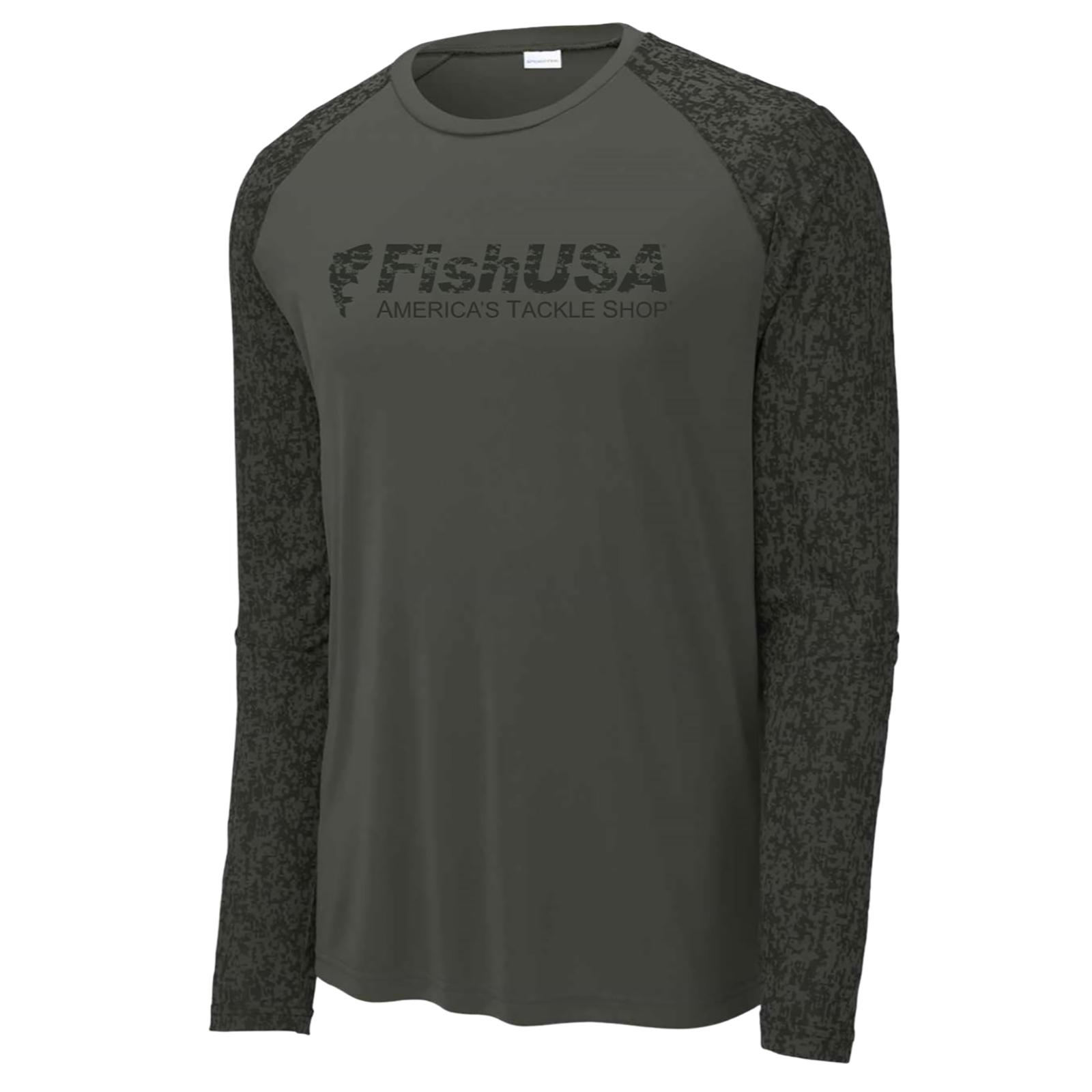 FishUSA Men's Camo Long Sleeve T-Shirt Black