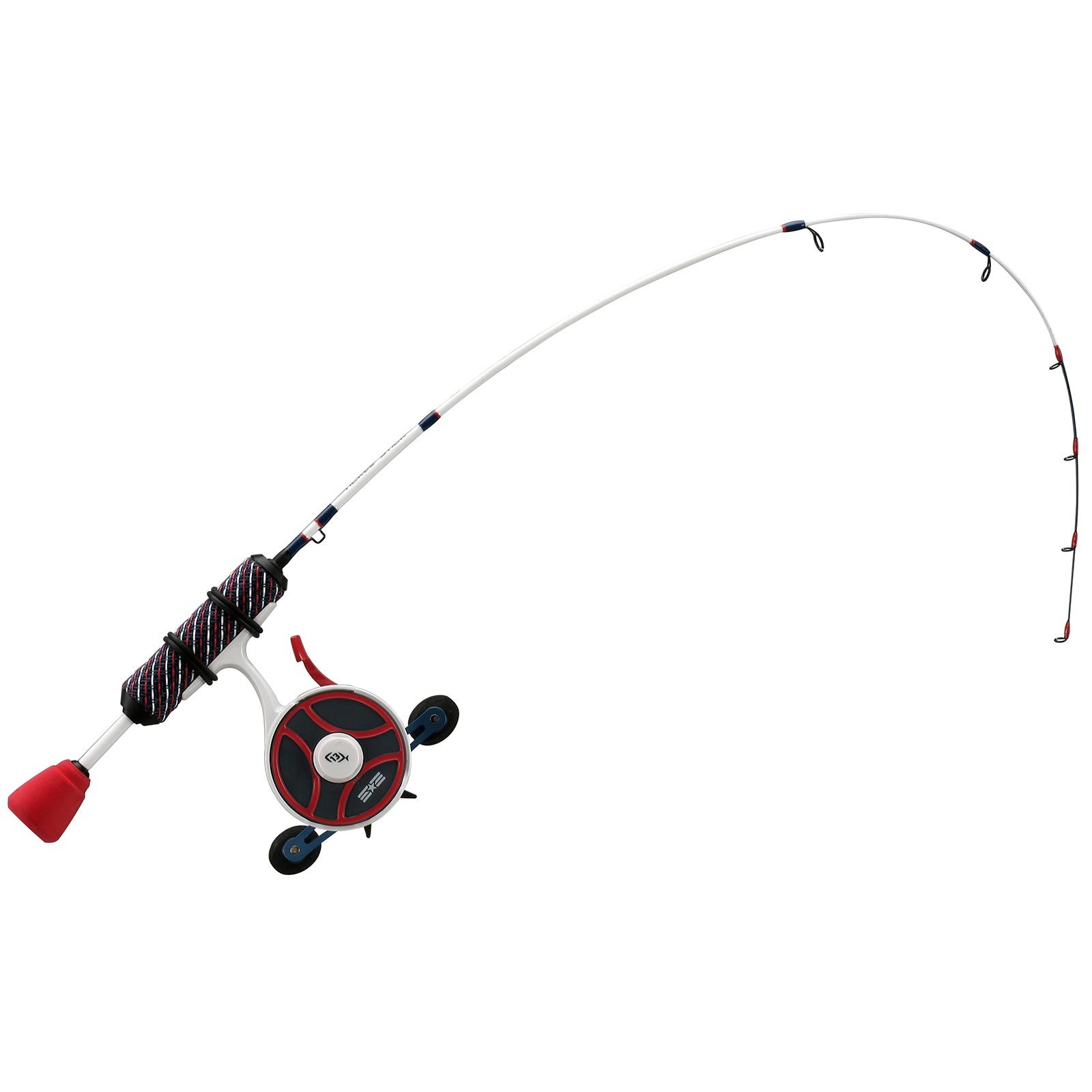 13 Fishing Black Betty FreeFall Ghost Patriot Edition Inline Ice Combo In Use