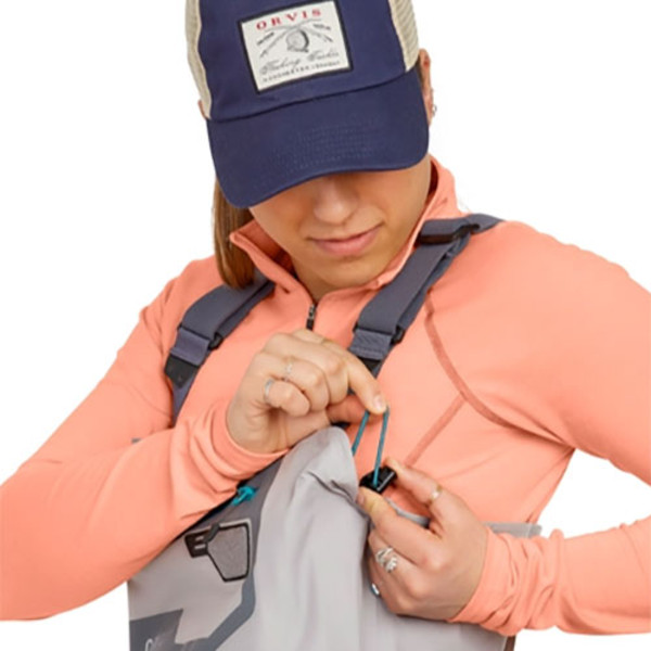 Orvis Women's Ultralight Convertible Stockingfoot Chest Waders Adjuster Close Up