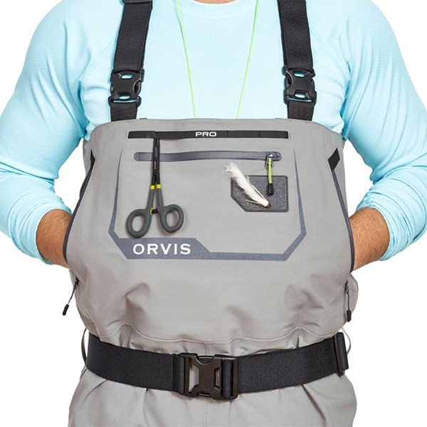 Orvis Men's PRO Stockingfoot Chest Waders Close Up Front Model