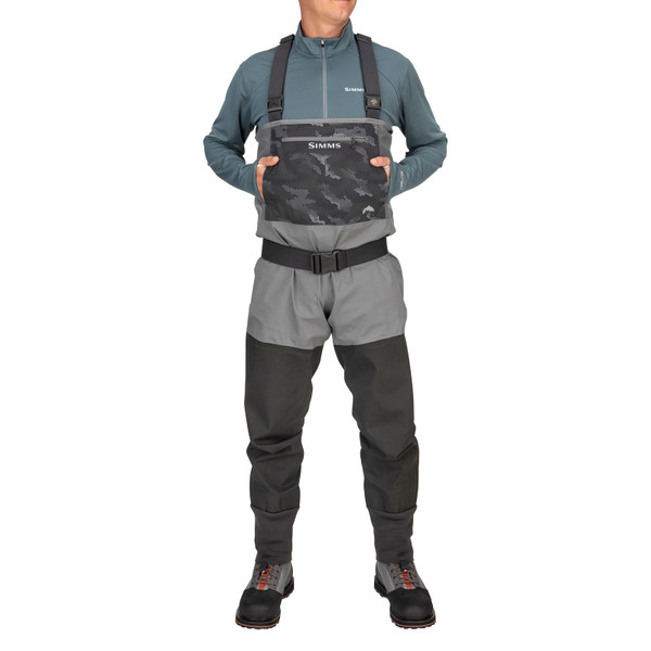 Simms Men's Guide Classic Stockingfoot Chest Waders hand warmer chest pocket