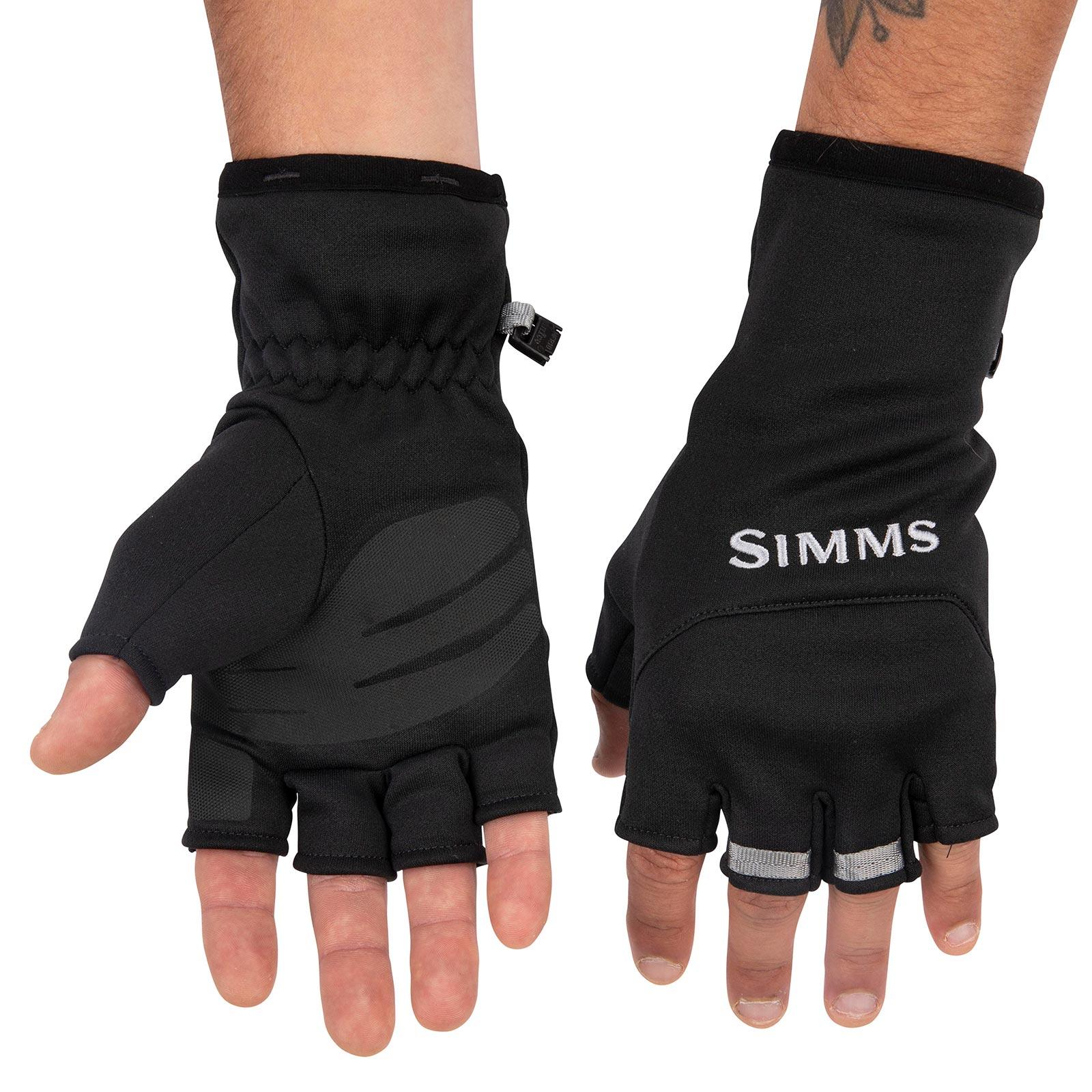 Simms Men's Freestone Half-Finger Mitts Front and Back