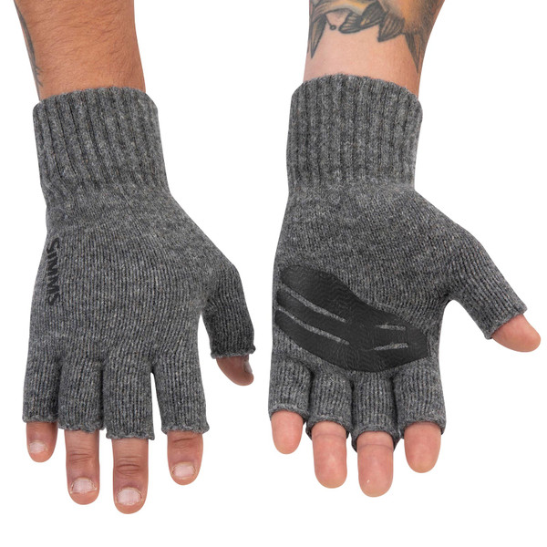 Simms Men's Wool Half-Finger Mitts Front and Back