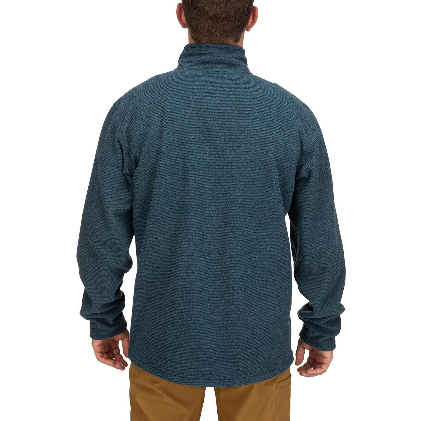 Model View Simms Men's Rivershed Full-Zip Sweater - Dark Moon