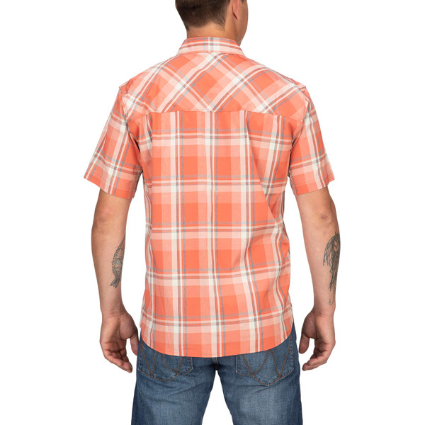 Model Back View - Smoked Salmon Plaid