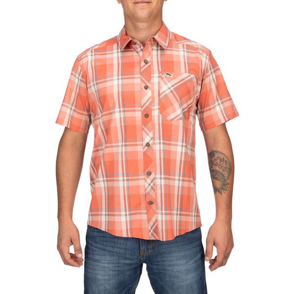 Model Front View - Smoked Salmon Plaid