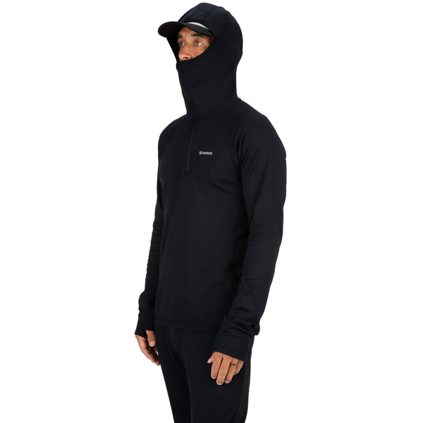 Simms Men's Heavyweight Baselayer Hoody on model face covered angle