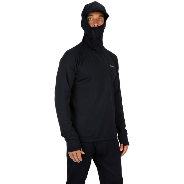 Simms Men's Heavyweight Baselayer Hoody on model face covered