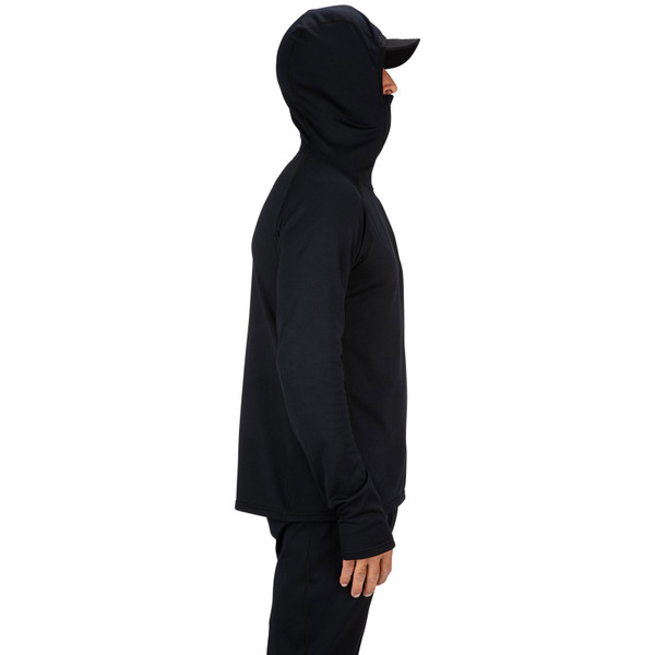 Simms Men's Heavyweight Baselayer Hoody on model face covered side