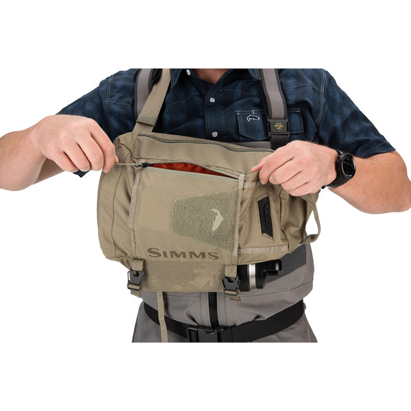Simms Tributary Sling Pack on model front opening