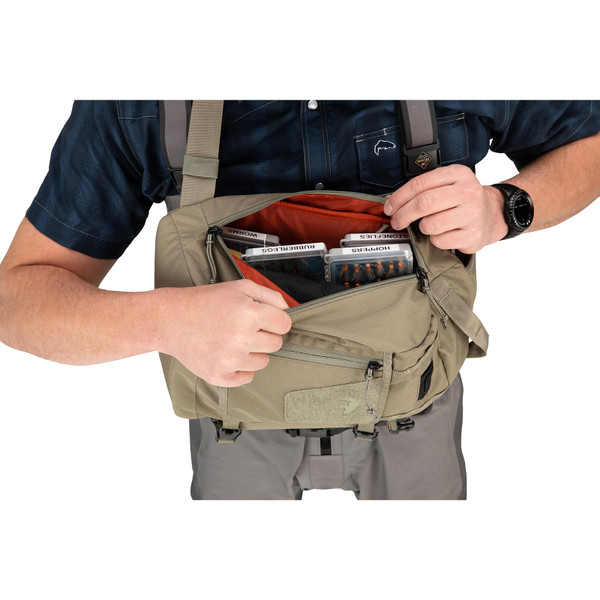 Simms Tributary Sling Pack on model open top