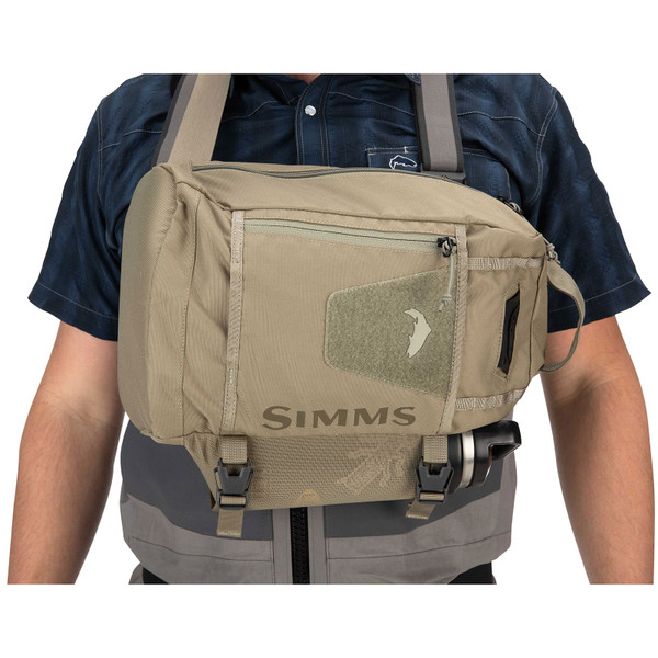 Simms Tributary Sling Pack on model front