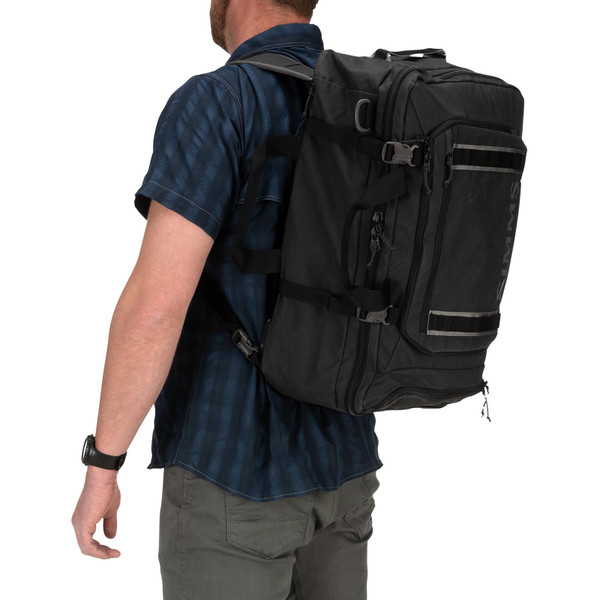 Simms GTS Tri-Carry Duffel Bag backpack in use