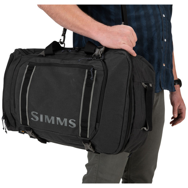 Simms GTS Tri-Carry Duffel Bag shoulder strap in use