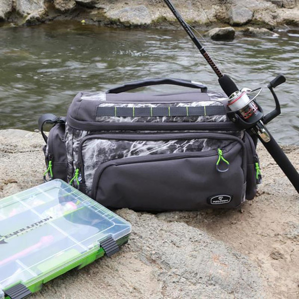 Evolution Outdoor Large Mouth Mossy Oak Tackle Bag In Use